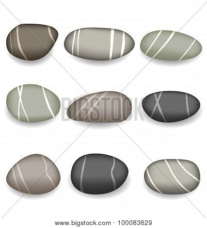 Set sea pebbles with shadows on white background