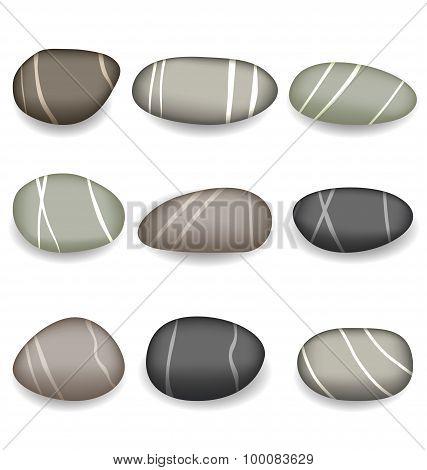 Set sea pebbles with shadows on white background