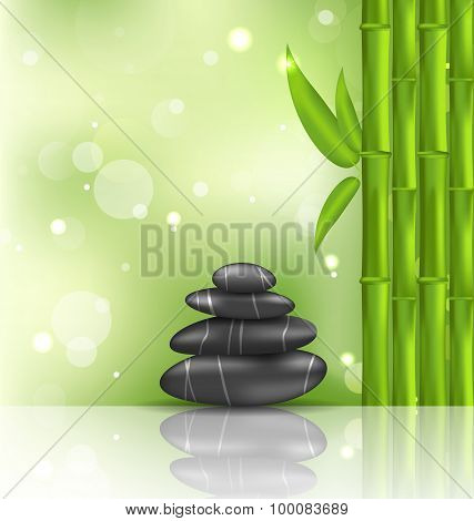 Meditative oriental background with bamboo and heap stones, spa