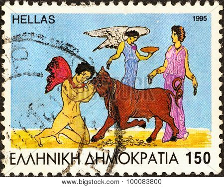 GREECE - CIRCA 1995: A stamp printed in Greece shows Jason taming the bull, Medea and Nike