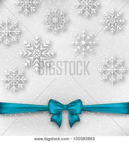 Christmas wrapping with bow ribbon and snowflakes