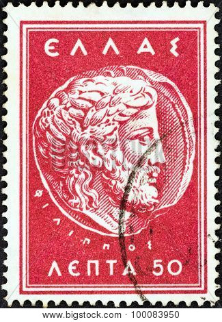 GREECE - CIRCA 1956: A stamp printed in Greece shows Zeus (Macedonian Coin of Philip II)