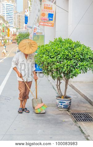 Street Sweeper With A Broom In China