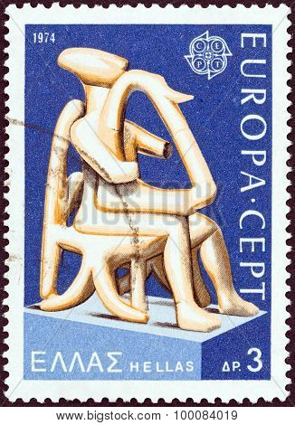 GREECE - CIRCA 1974: A stamp printed in Greece swows Harpist of Keros sho