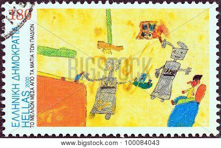 GREECE - CIRCA 2000: A stamp printed in Greece shows Robots (Moshovaki-Chaiger Ornella)