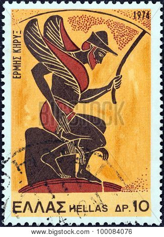 GREECE - CIRCA 1974: A stamp printed in Greece shows god Hermes, the messenger (vase)
