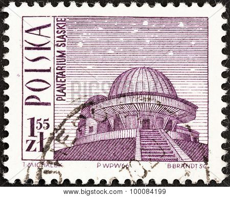 POLAND - CIRCA 1966: A stamp printed in Poland shows Silesian Planetarium, circa 1966.