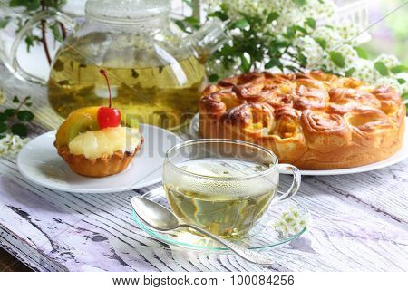Tea, Cake With Fruit And A Pie With A Stuffing From Fresh Apricots