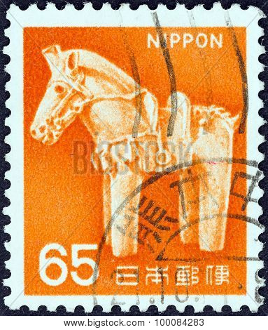 JAPAN - CIRCA 1966: A stamp printed in Japan shows ancient clay horse