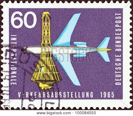 GERMANY - CIRCA 1965: A stamp printed in Germany shows Boeing 727-100 Airliner and Space Capsule