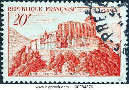 FRANCE - CIRCA 1949: A stamp printed in France shows St. Bertrand de Comminges