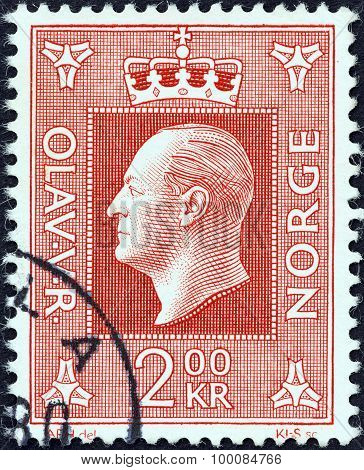 NORWAY - CIRCA 1969: A stamp printed in Norway shows King Olav V