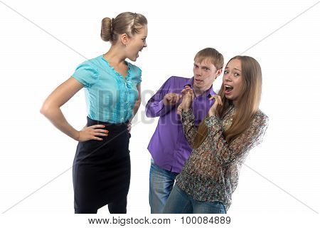 Image of businesswoman screaming at subordinates