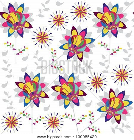 Colorful Floral Seamless Pattern And Seamless Pattern In Swatch Menu, Vector Image. Cute Texture For