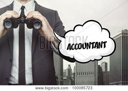 Accountant text on speech bubble with businessman holding binoculars