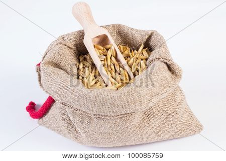 Organic Oat Grains In Jute Bag, Healthy Nutrition, White Background