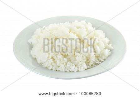 Rice With White Plated Isolated On The White Background