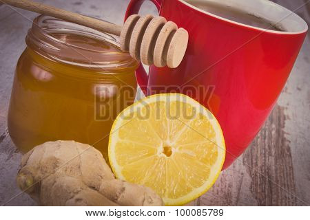 Vintage Photo, Fresh Lemon With Honey And Cup Of Tea On Wooden Table, Healthy Nutrition
