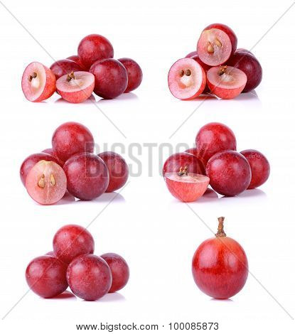 Set Of Grapes Isolated On Over White Background