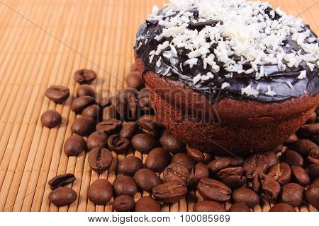 Chocolate Muffins With Desiccated Coconut And Coffee Grains