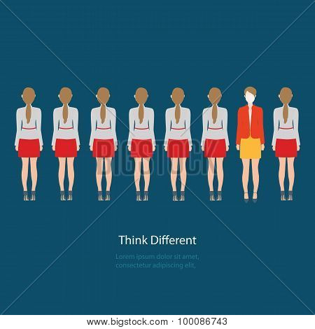Red Business Woman Standing Different Grey Business Women, Think Different.