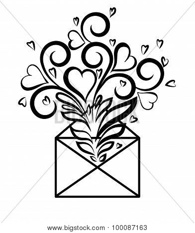 Envelope With Floral Design And Hearts, The Symbol Of Love Confessions.