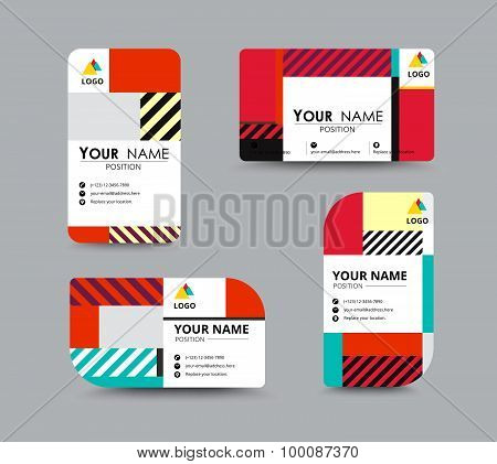 Mono Chrome Business Card Template. Contemporary Design. Vector Illustration.