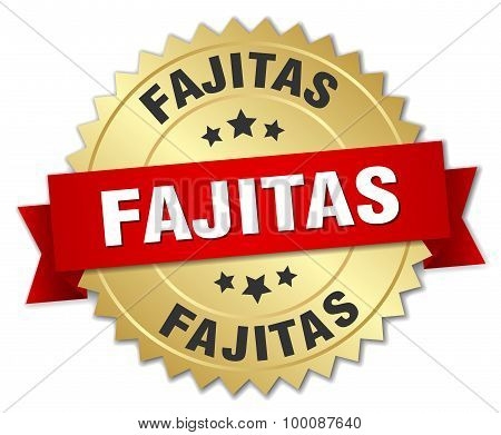 Fajitas 3D Gold Badge With Red Ribbon