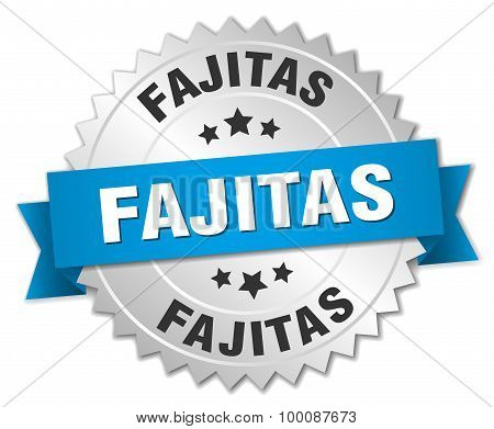 Fajitas 3D Silver Badge With Blue Ribbon