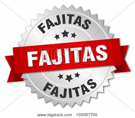 Fajitas 3D Silver Badge With Red Ribbon
