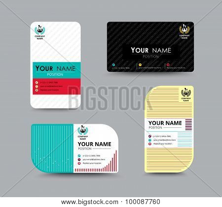 Business Name Card Design For Corporation. Card Template. Vector Illustration