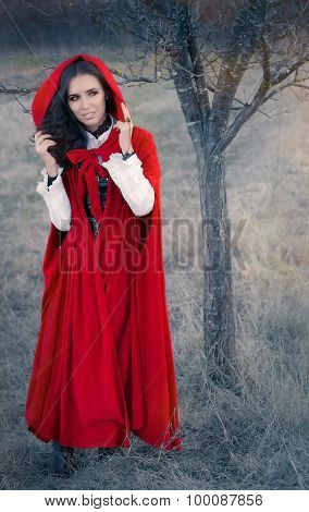 Red Hooded Woman Fairytale Portrait