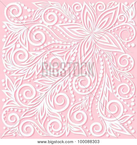 Beautiful Floral Pattern, A Design Element In The Wedding Style.