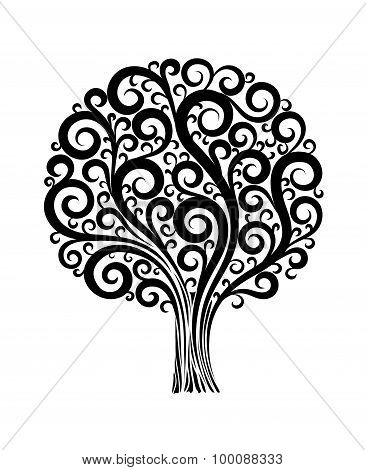 Black Tree In A Flower Design With Swirls And Flourishes On A White Background