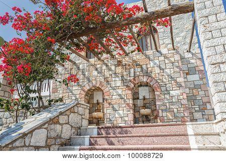 Flowering Bougainvillea on wooden patio pergola on Greek island Kalymnos