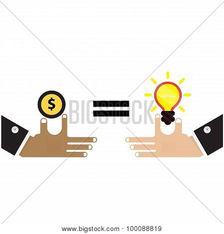 Businessman Hand With Creative Light Bulb Sign And Business Idea Concept,business Design Elements.