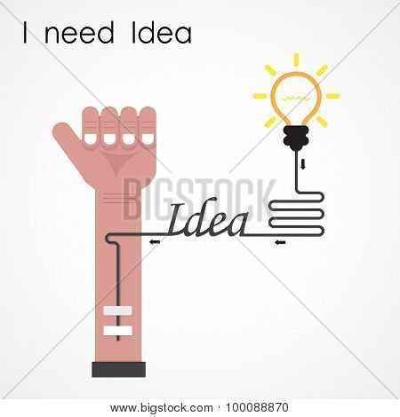 I Need Idea Concept. Businessman Hand And Creative Light Bulb. Business And Education Idea Concept.