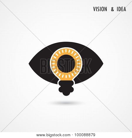 Vision And Ideas Sign,eye Icon,light Bulb Symbol ,business Concept.