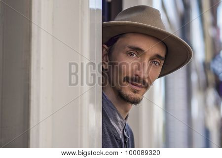 Portrait Of A Man In Hat Outdoors