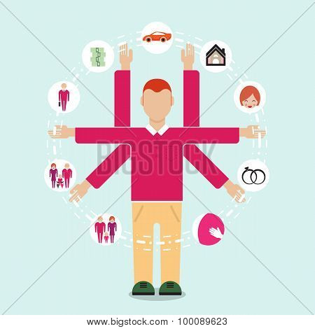 Young Man Symbol With His Life Plan In The Futher. Family Flat Style People Figures Parenting Parent
