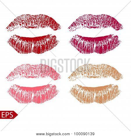 Print set of pink lips. Vector illustration on a white background. EPS