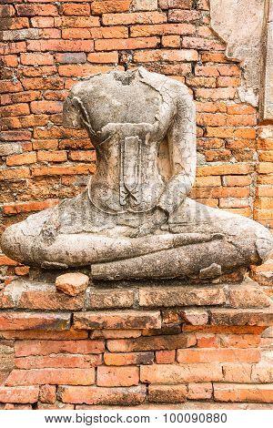 Old Buddha Statue at Wat Chaiwatthanaram Ayutthaya ,Thailand