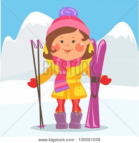 Cartoon people - Woman with skis