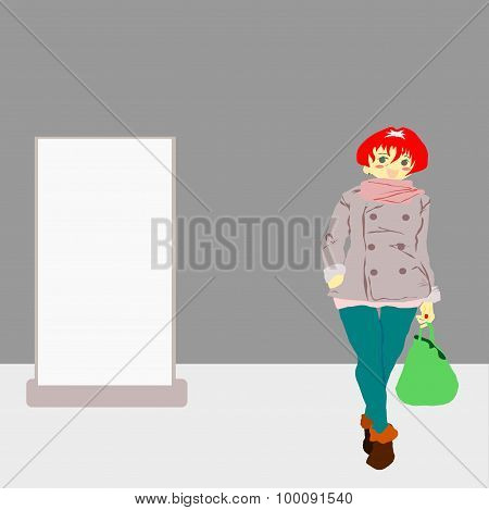 Woman shopping with blank board