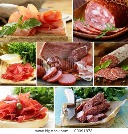 collage of assortment of sausage and smoked meat