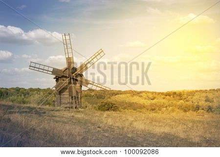 Old Windmill On The Field
