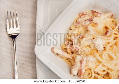 Macro View Of Spaghetti Carbonara With Fork