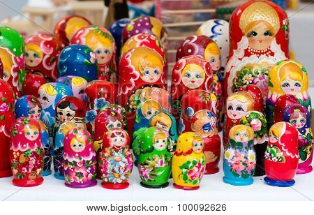 The variety of colorful russian wooden dolls known as