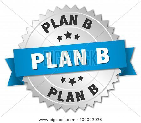 Plan B 3D Silver Badge With Blue Ribbon