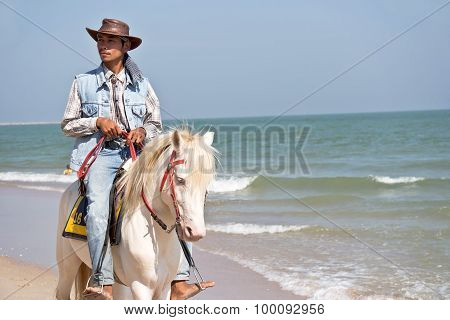 People Riding On Horse Back At Cha - Am Beach
